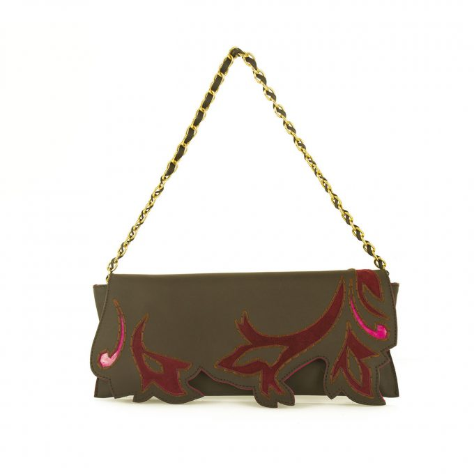 Iceberg Brown Fuchsia Leather Leaves Flap top Clutch Evening Hand Bag w. Chain