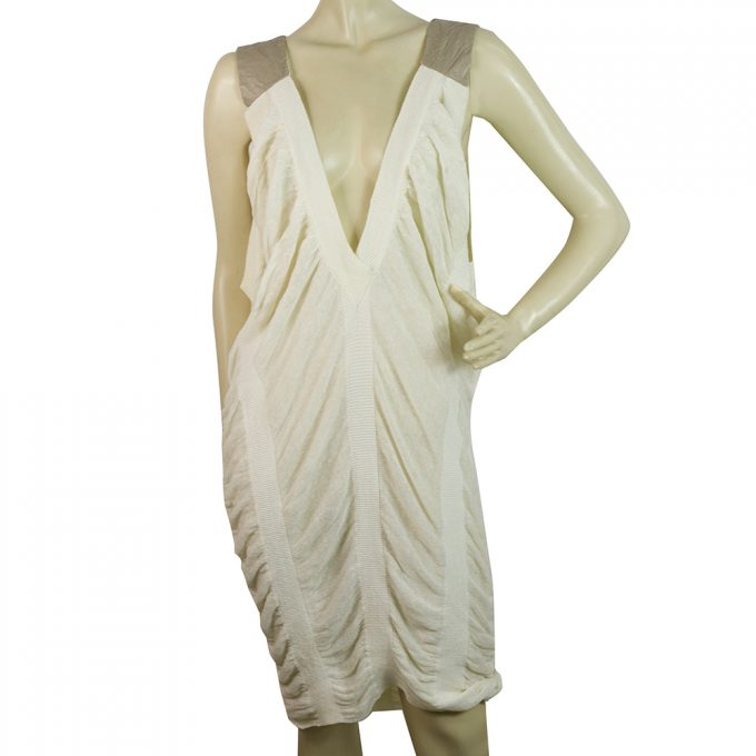 Iceberg Cream Linen Beige Straps Draped Knee Length Midi Dress size 44 / M