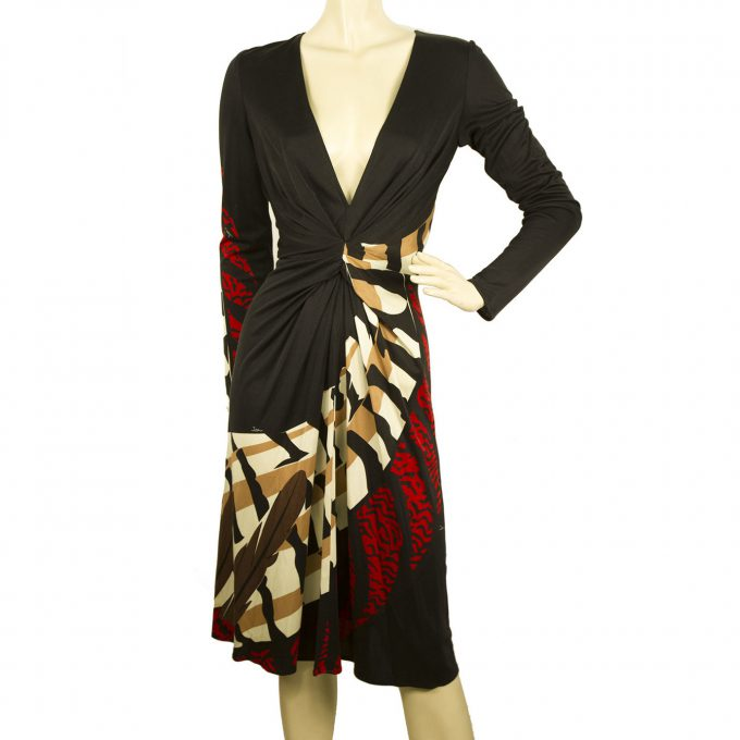 ISSA London Black Red Beige Abstract Print Deep V neck Knee Length Dress