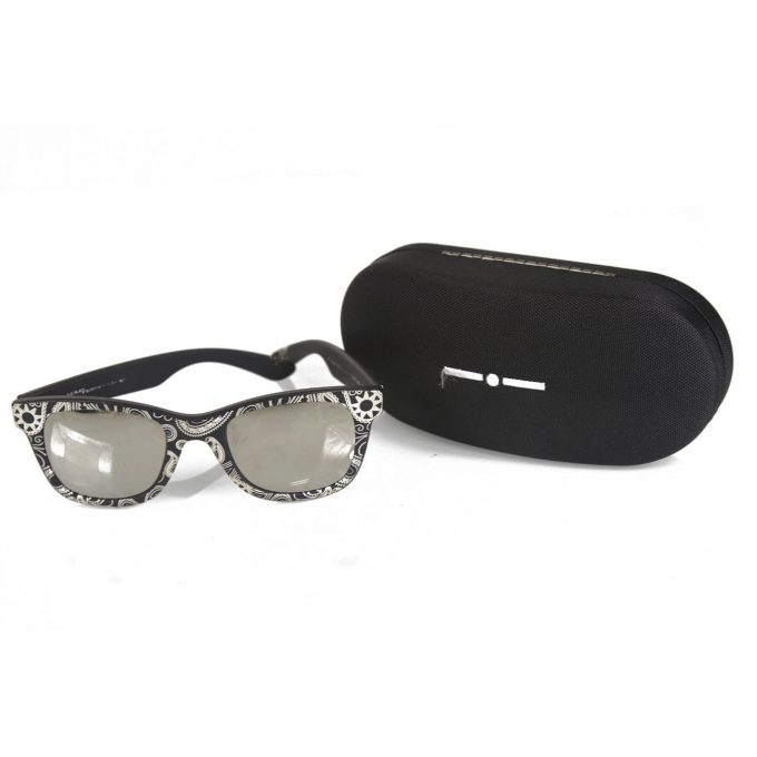 Italia Independent 090 GG Floral Wellington Frame Black and White Sunglasses Box