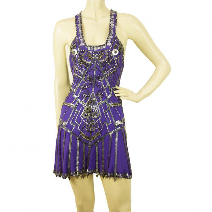 Jenny Packham X- Back U front purple embellished sequined super mini dress 8 UK