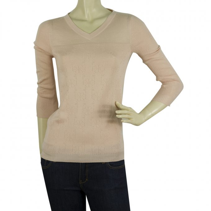 Jil Sander Pink Cashmere Silk Perforated Top Sweater Blouse Size 36