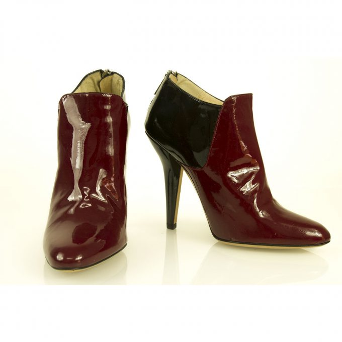 Jimmy Choo Bicolor Black & Bordeaux Patent Leather Ankle Booties Boots size 38