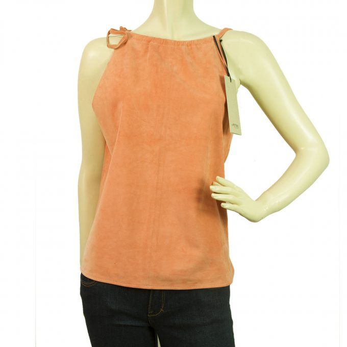 Jo Peters NEW 100% Leather Suede Salmon Pink Cami Sleeveless Top