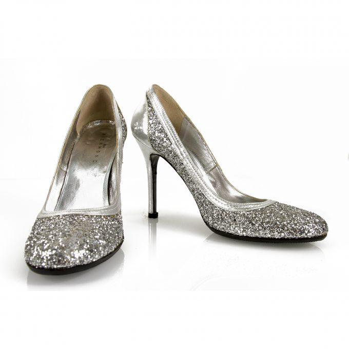 John Richmond Silver Leather Glitter Covered High Heel Pumps sz 40