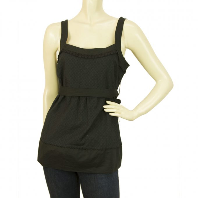 Juicy Couture Black Zacquard Cotton Tunic Vest Blouse Top w. Waist Belt - Size 2
