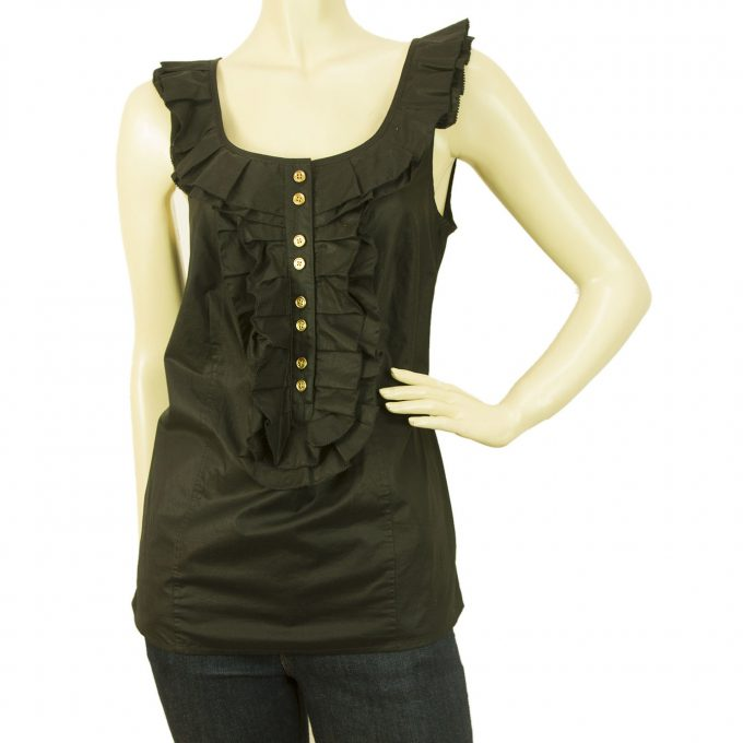 Juicy Couture Black Ruffled Cotton Tank Vest Blouse Top w. Gold Buttons - Size 4