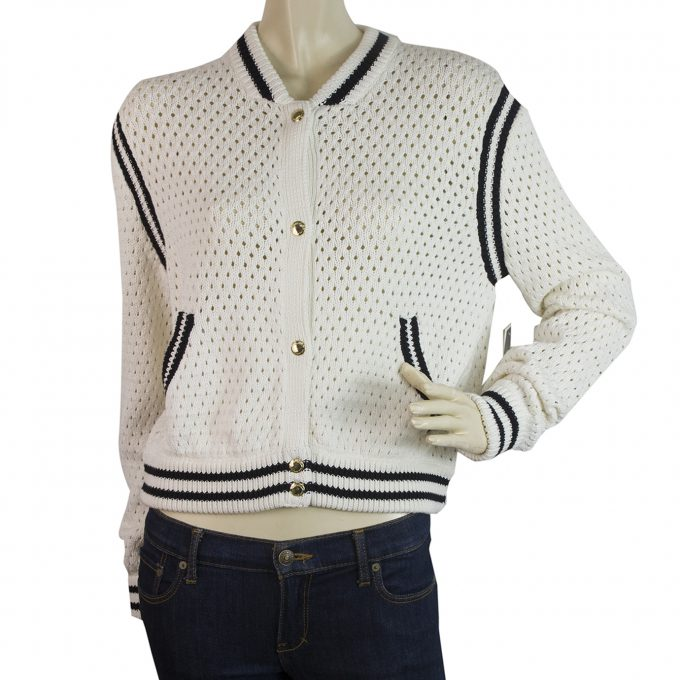 Juicy Couture White & Black Perforated Knit Hollywood 78 Cardigan Cardi sz S