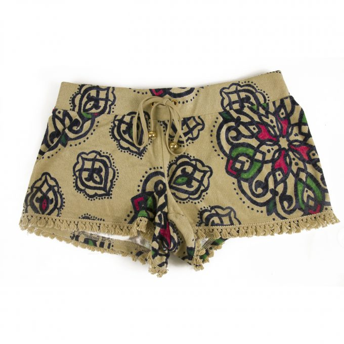 Juicy Couture Beige Floral Terry Hot Shorts Front Tie- Size S