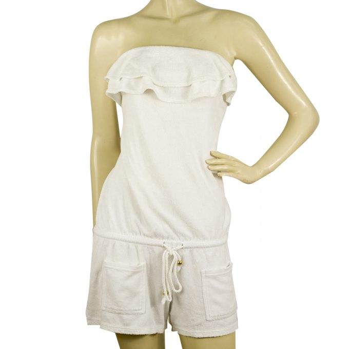 Juicy Couture White Terry Swimwear Strapless Ruffled Romper Playsuit - Sz M