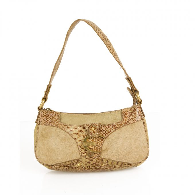 Just Cavalli Beige Calf Hair Snake Embossed Leather Shoulder Bag Handbag