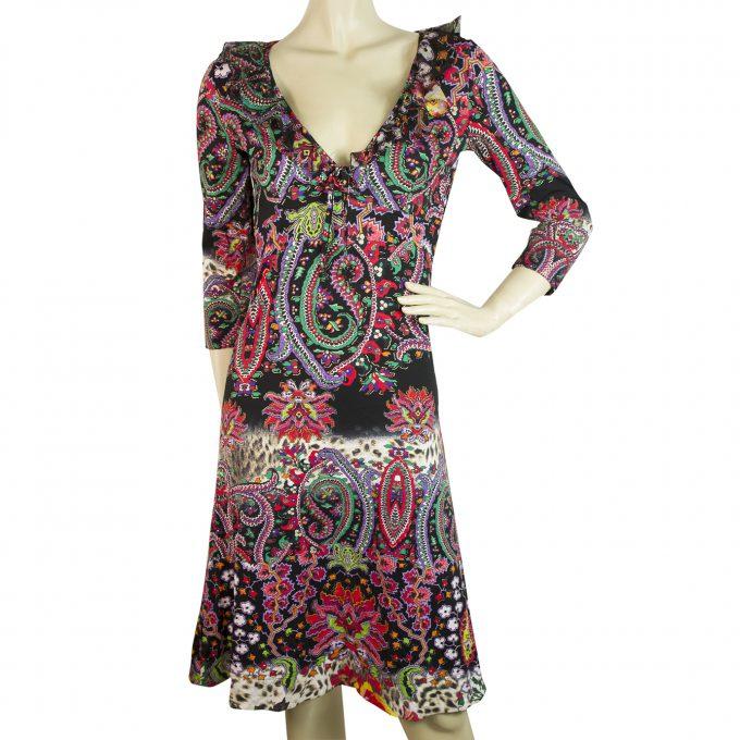 Just Cavalli Multicolored Paisley 3/4 Sleeves Romantic Knee Length Dress size 46