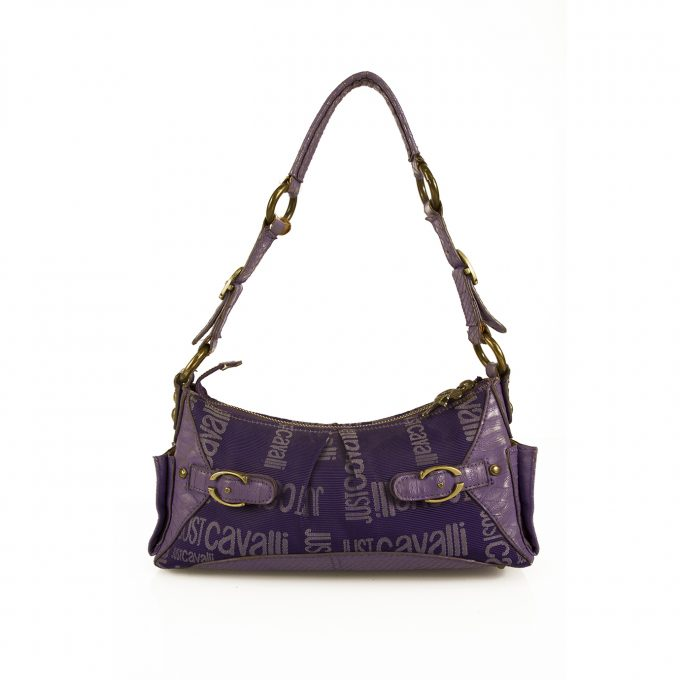 Just Cavalli Purple Monogram Canvas & Leather Brass Tone Hardware Shoulder Bag