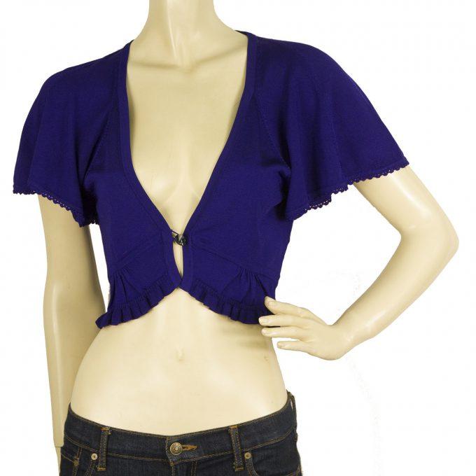 Karen Millen Blue Single Button Front Viscose Short Top Bolero Cardi sz 2