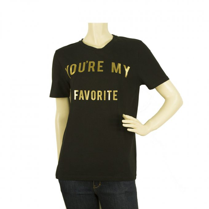 Zoe Karssen You are my Favorite Black Gold Womans T- Shirt Top - Size M