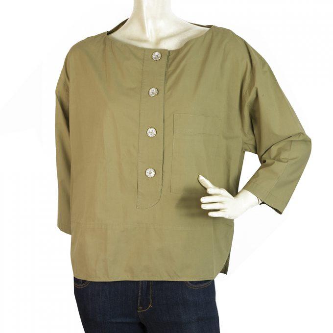 Kenzo Khaki 100% Cotton Tunic Shirt Top Blouse w. Pockets size 38