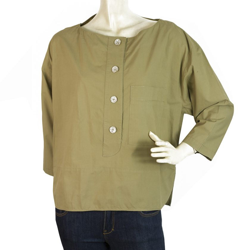 Kenzo Khaki 100% Cotton Tunic Shirt Top Blouse w. Pockets size 38