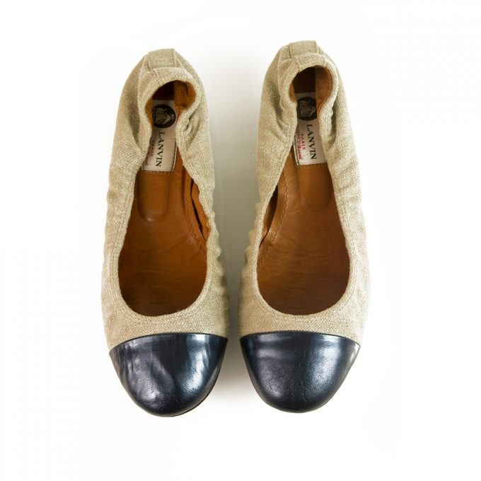 LANVIN Beige linen blue leather cap toe elasticated trim ballet shoes flats ballerina size 38