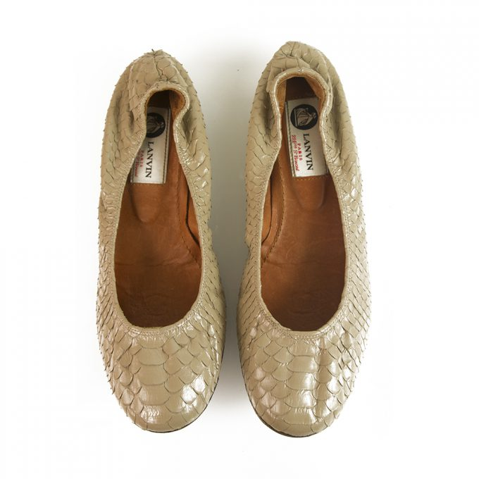 LANVIN Beige snake skin elasticated trim ballet shoes flats ballerina size 38