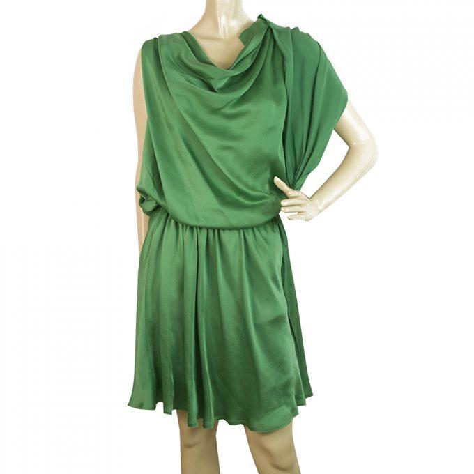 Lanvin Green 100% silk Sleeveless Draped Mini Length Dress - Size 34