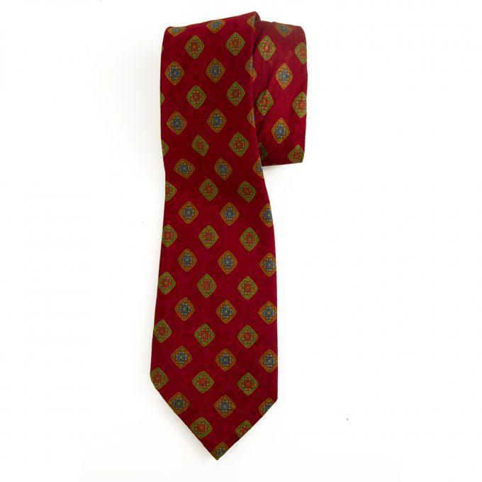 Lanvin 100% Silk Red Blue Green Floral Geometrical Men's Neck Tie Necktie