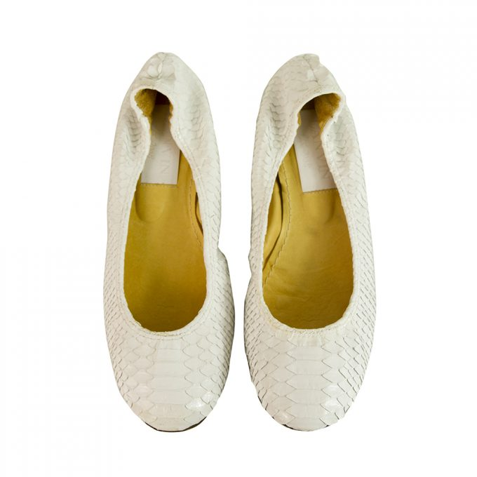 LANVIN White snake skin elasticated trim ballet shoes flats ballerina size 38