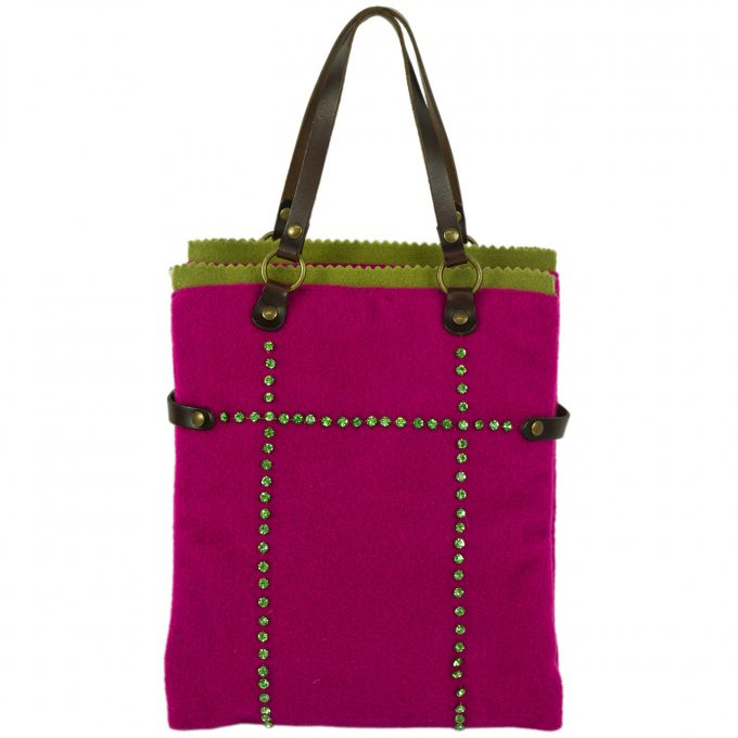 Liana Camba Felt Fabric Fuchsia & Green w. Crystals Brown Hand Bag Handbag
