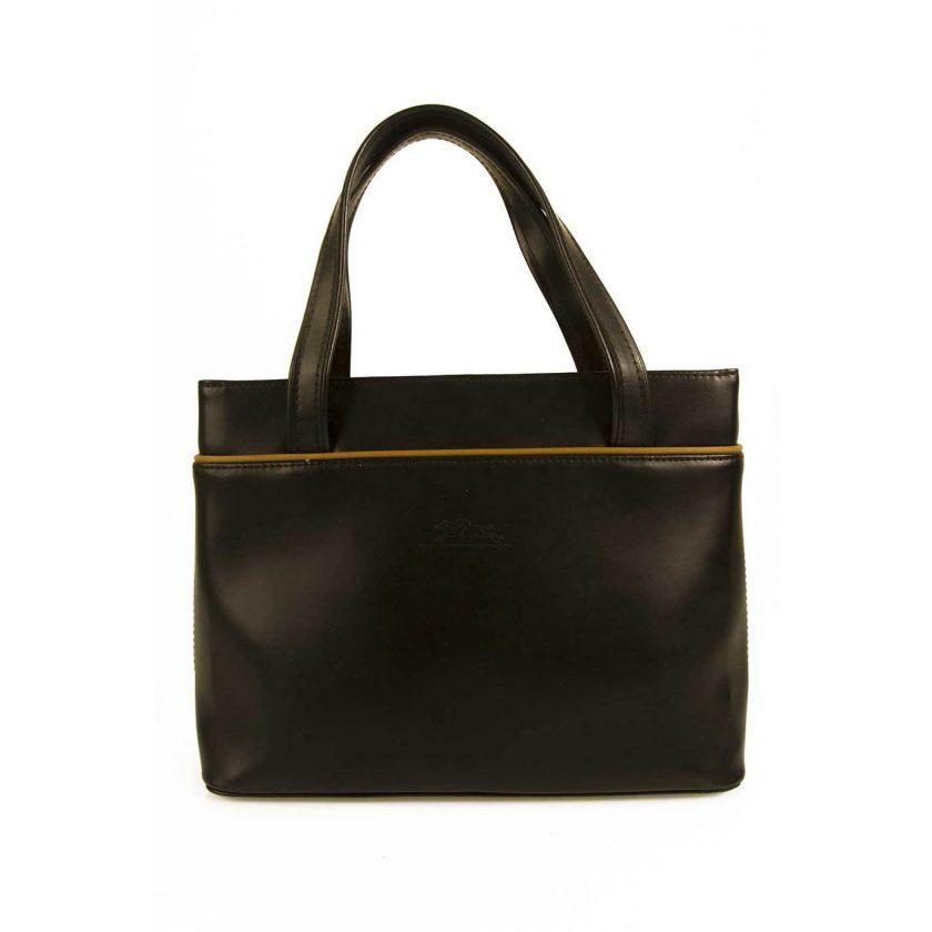 Longchamp Black Leather Tan Trim & Lining Tote Handbag Classic Bag Purse