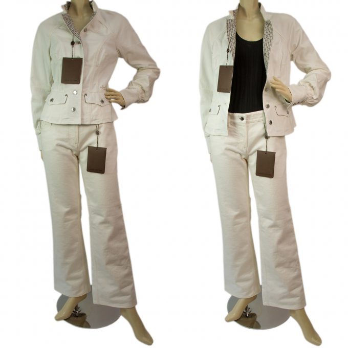 Louis Vuitton White Cotton Denim Jeans Jacket & Pants Trousers Set size 38