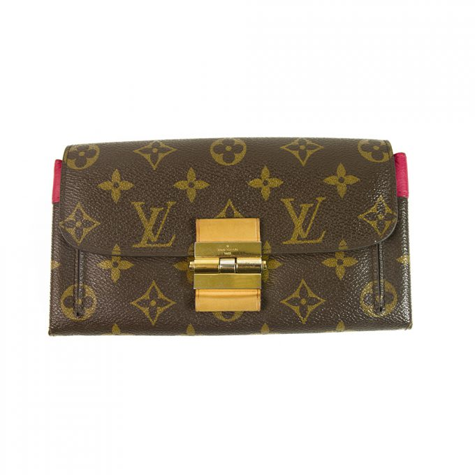 Louis Vuitton LV Monogram Canvas & Fuchsia Leather Women's Long Wallet