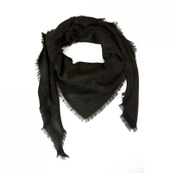 Louis Vuitton monogram black Tone on tone shawl weaved jacquard silk M71329