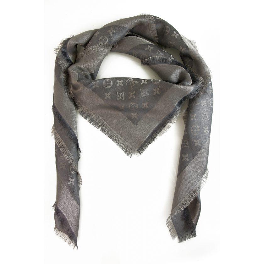 Louis Vuitton monogram Shine Silver w. silver shawl weaved jacquard silk M75120