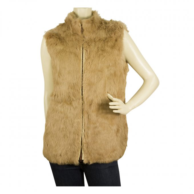 MK Emkay Beige Brown Fur Vest Sleeveless Jacket Gillet sz 42