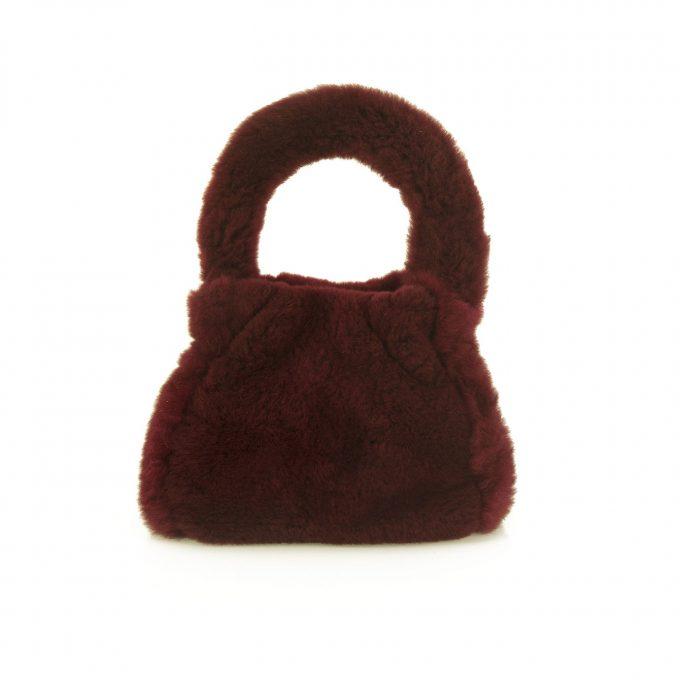 Madler Serapian Burgundy Genuine Fur Evening Handbag Mini Bag Pochette