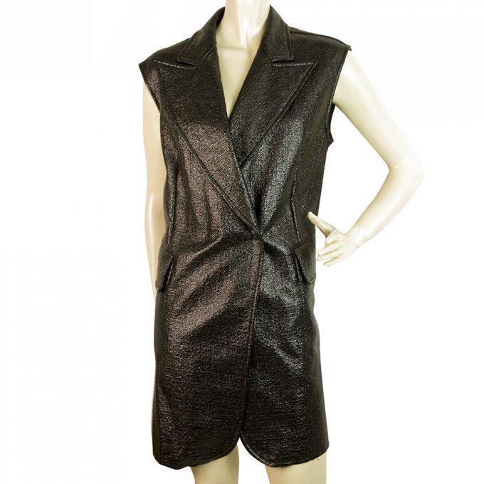 MM6 Maison Margiela Black Shiny Long Top Gillet Cardi vest or Mini Dress size 40