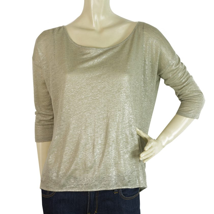 Majestic Filatures Beige Metallic Shine Linen Top Back Chain Detail Blouse Sz 1
