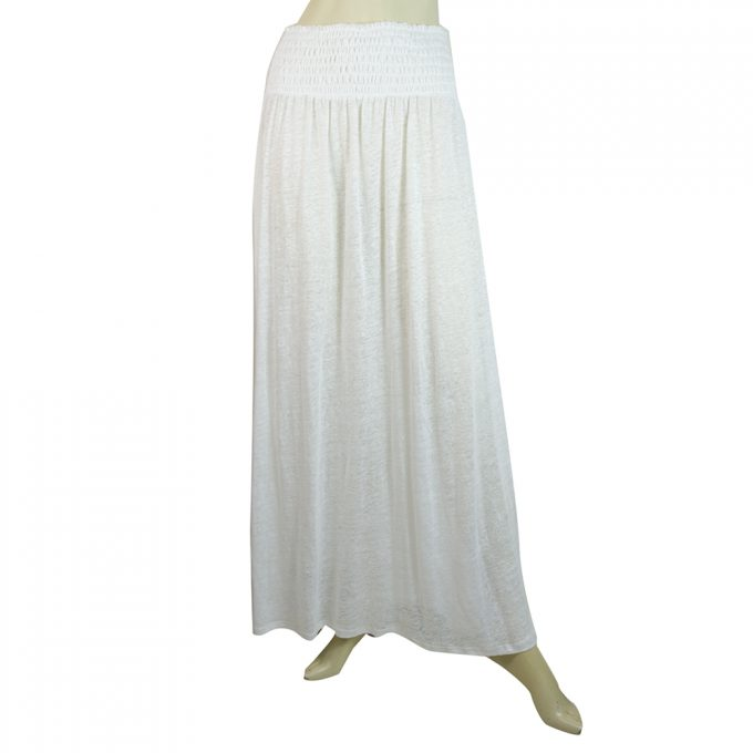 Majestic Filatures White Linen Long Length Skirt Elasticated Waist Size 1