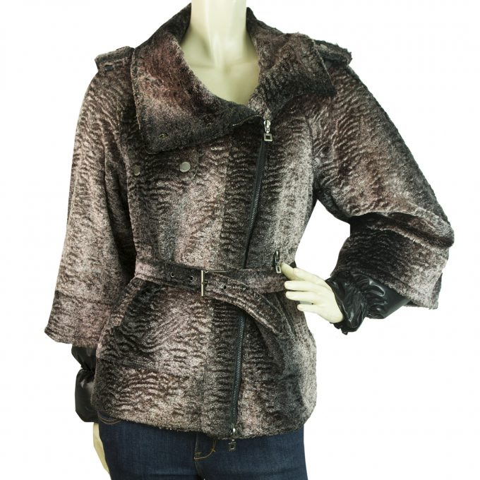 Maksar Pinkish Gray Faux Fur Like Belted Zipper Jacket Coat size 38