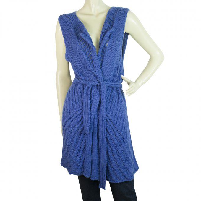 Malo Cobalt Blue Long Knit Cashmere Belted Top Gillet Cardi vest size M