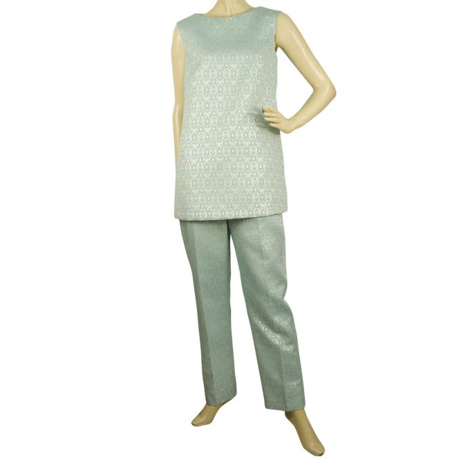 Manolo Brocard Light Blue Silver Sleeveless Top and Pants Trousers Set sz S - M