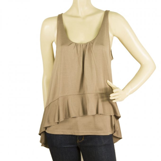 Marc by Marc Jacobs Taupe Paneled Ruffled Tunic Tank Style Blouse Top - Sz M