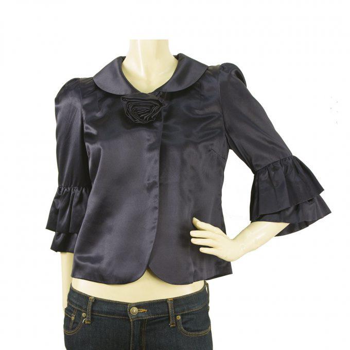 Marc Jacobs Midnight Blue Silk Blend Bolero Jacket with Flared sleeves - Sz 4