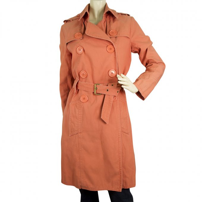 Marc Jacobs Woman's Salmon Pink Belted Denim Trench Type Jacket Coat size M