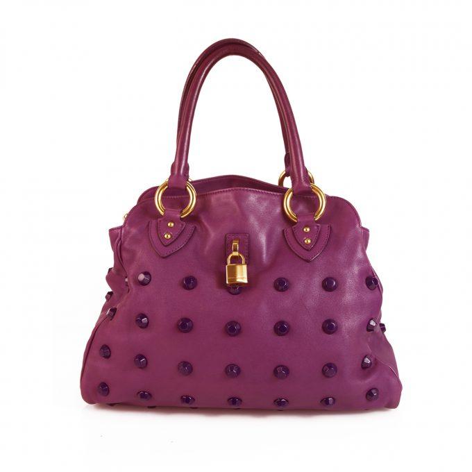Marc Jacobs Purple Leather Studded Shopper Shoulder Bag Handbag w. Padlock