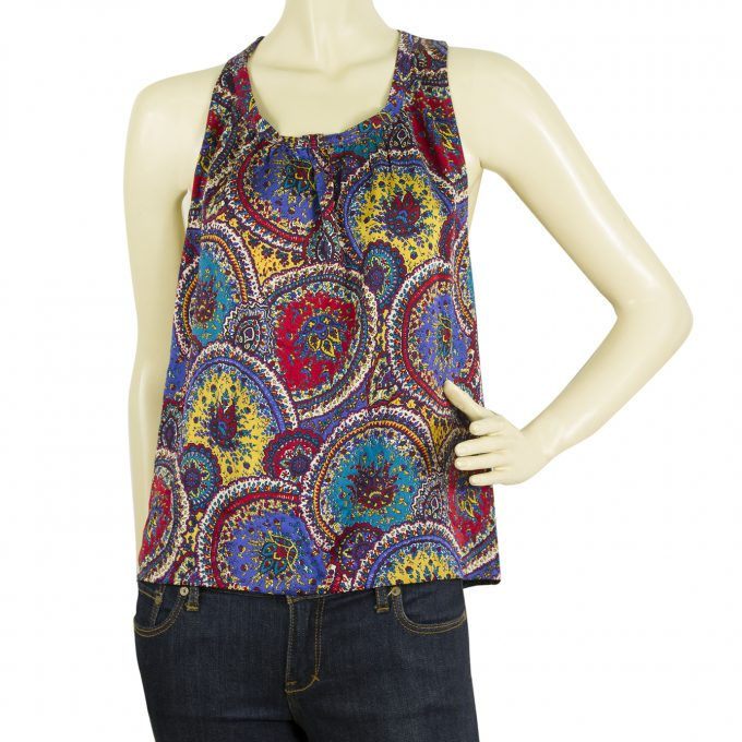 Marc Jacobs Multicolor Silk Floral Paisley Tank Sleeveless Tunic Top - Sz S