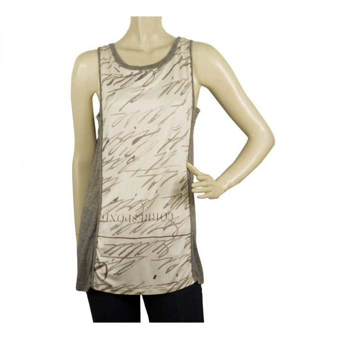 Maria Calderara Gray Woolen Lettering Front Long Top Vest Blouse Tank Sz 2