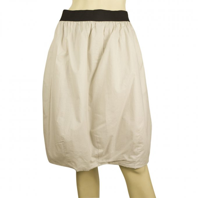 Marni Bubble Hem Beige Cotton Knee Length Summer Skirt w. Black Trim szie 40