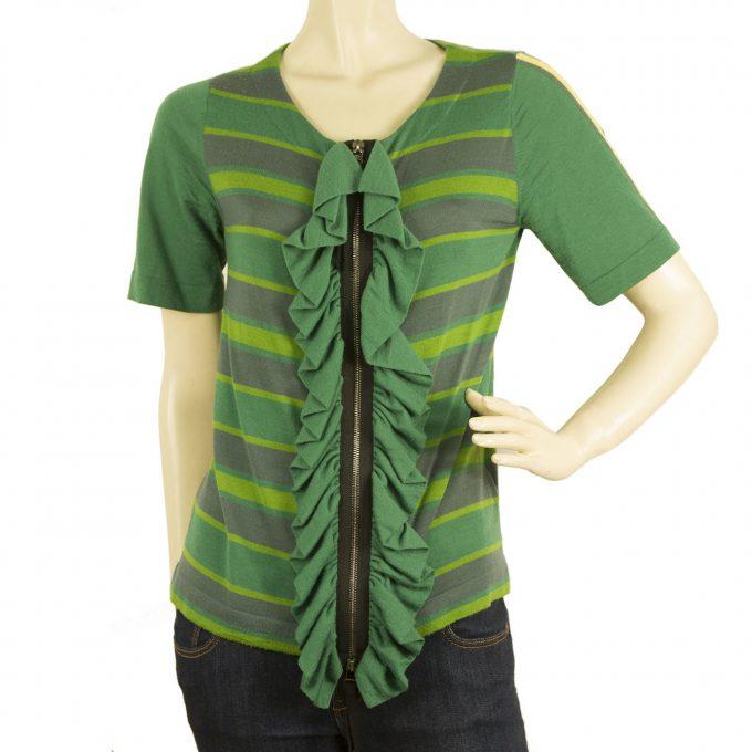 Marni at H&M Green Striped Merinos Wool Zipper Front Cardigan Cardi Top sz 38