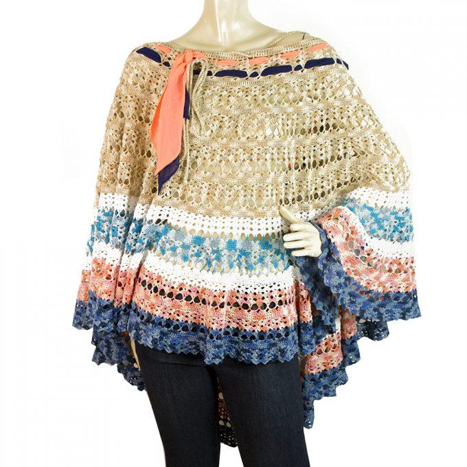 Matthew Williamson Beige Blue Peach Knitted Cotton Poncho Cape Cardigan sz 8/ 10