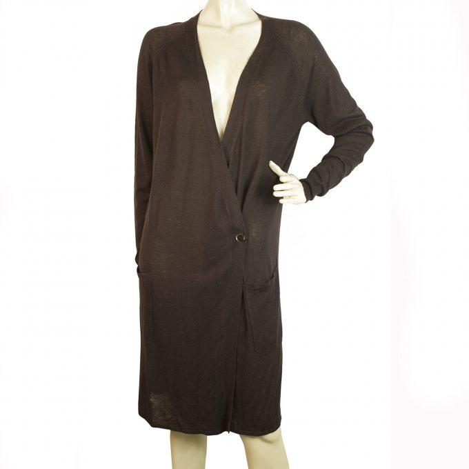 Max Mara Brown Knit Silk Linen Pockets One Button Front Cardi Dress size XL